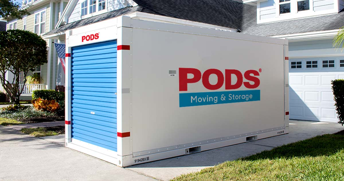 A PODs storage container in a driveway - one of the ways of moving out of state