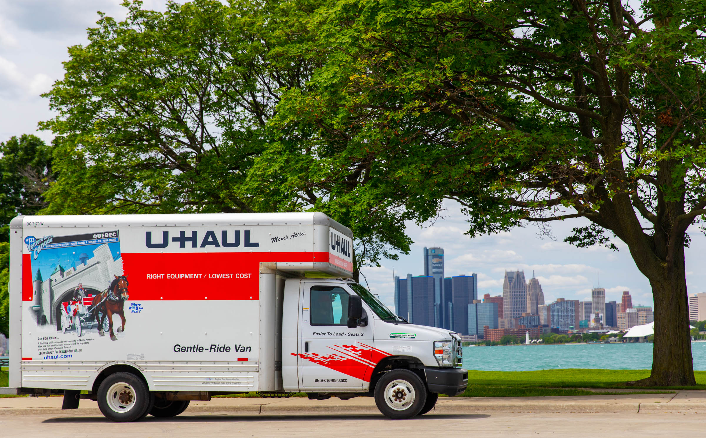 A U-Haul being driven along a lakeshore - one of the ways of moving out of state
