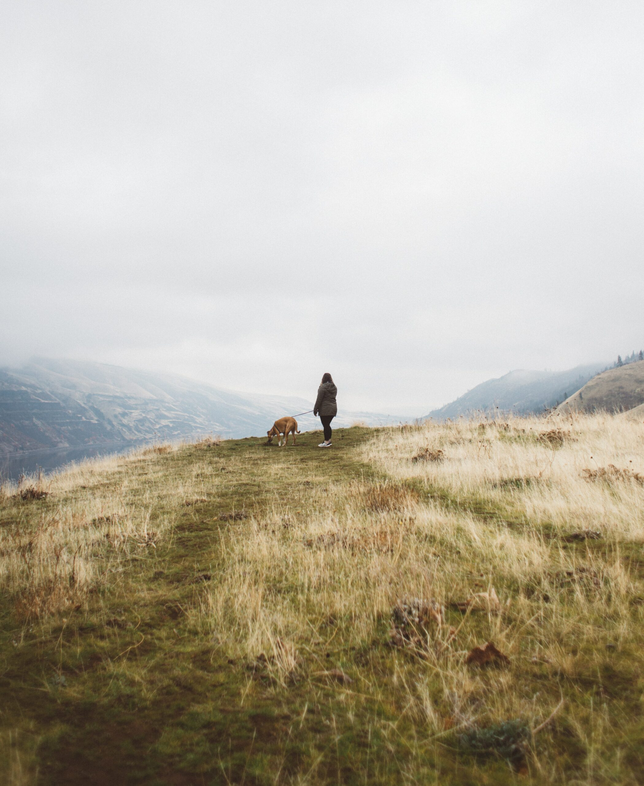 A woman walking her dog outdoors - personal practices