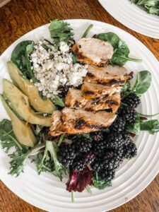 The finished Blackberry and Grilled Rosemary Chicken Salad plated.