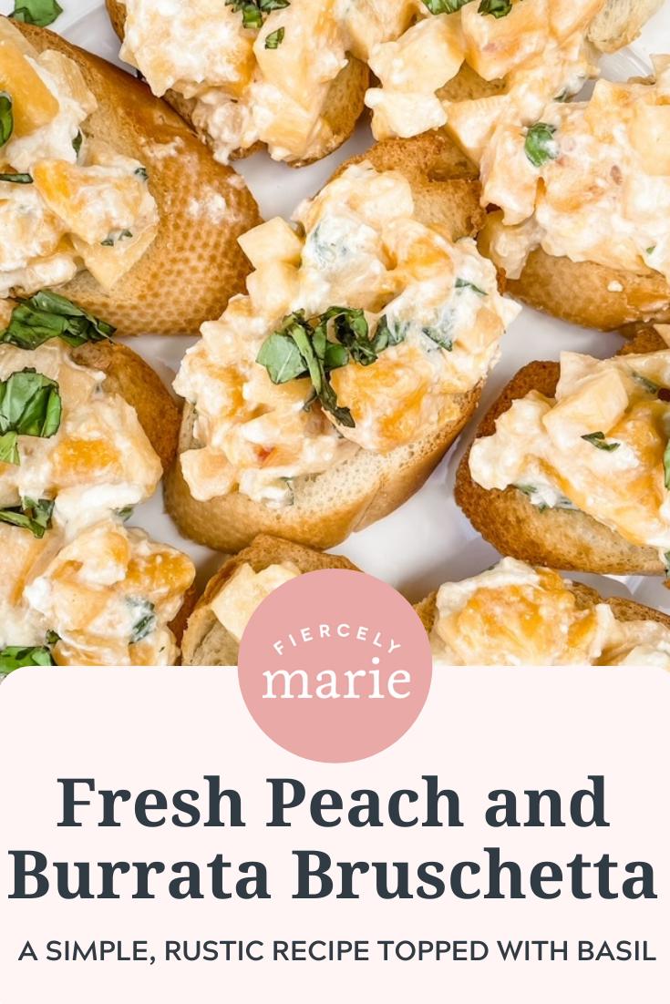 Fresh Peach and Burrata Bruschetta Appetizer
