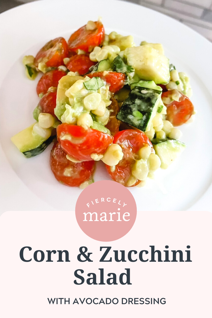 Corn and Zucchini Salad with Avocado Dressing