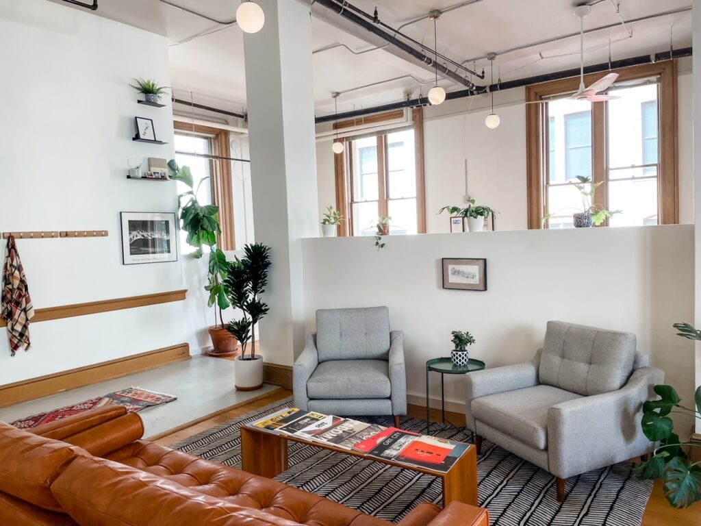 A warm, welcoming space for work and socializing - one of the many coworking spaces pros and cons