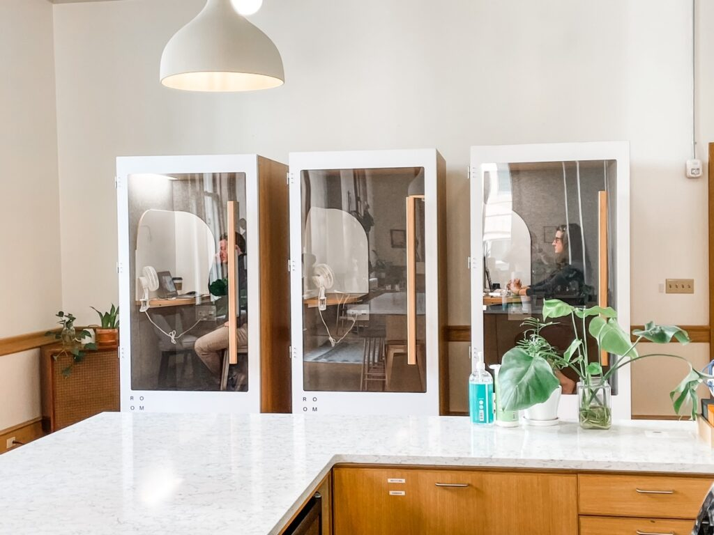 Telephone booths - a pro of the coworking spaces pros and cons