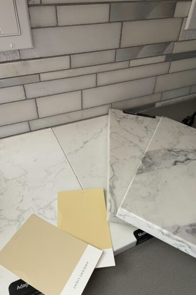 The white marble countertop that Marie chose for her counter top remodeling before and after