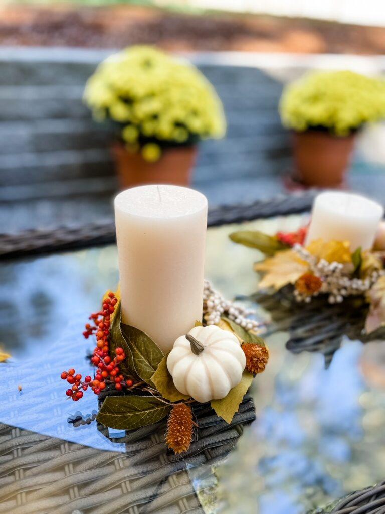 A DIY Fall Candle Wreaths with a mini pumpkin