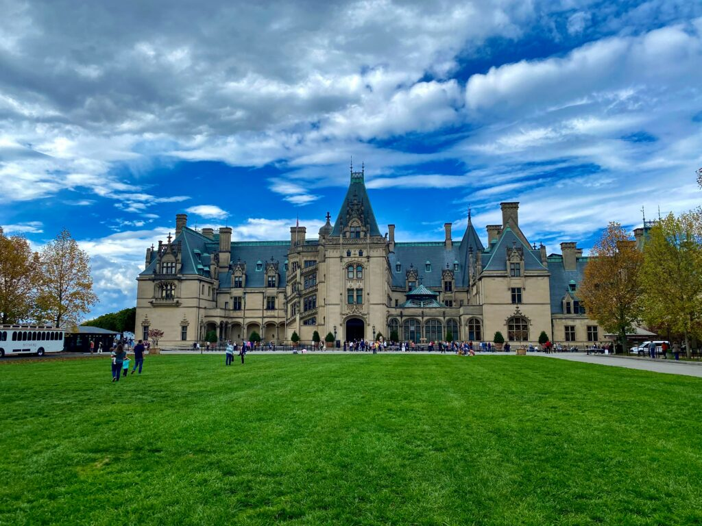 A view of the Biltmore mansion and its grounds