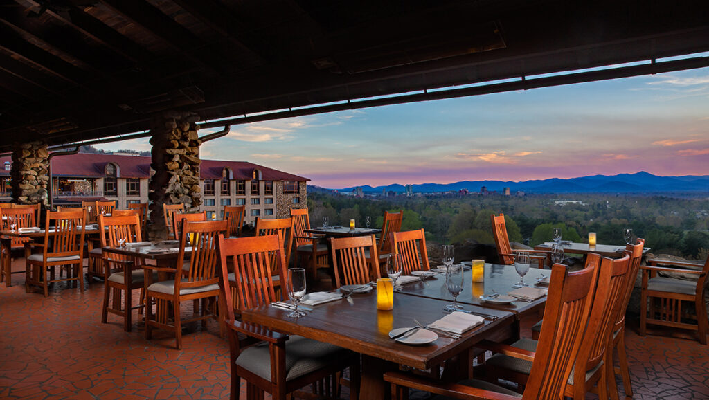 A perfect afternonn meal for A day in Asheville, NC - a restaurant with the perfect view of the North Carolina mountains
