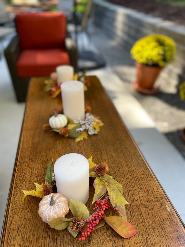 The DIY Fall Candle Wreathes, a craft on the 28 Rainy Day Activities for Adults list