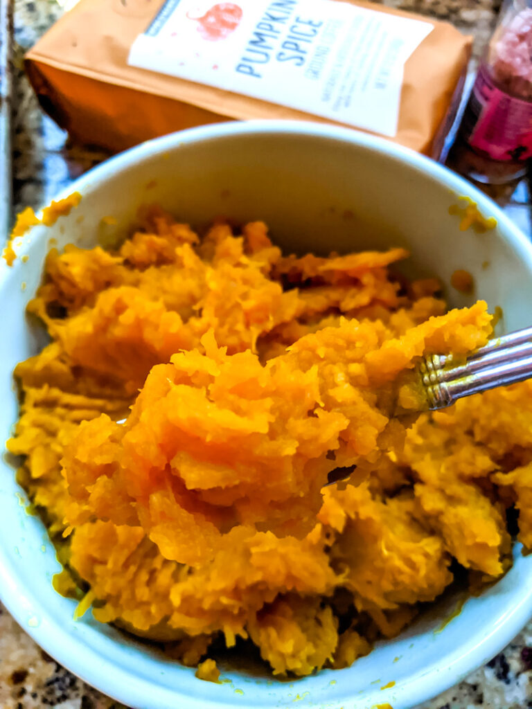A bowl of the homemade pumpkin puree- part of the Pumpkin Recipe Round Up