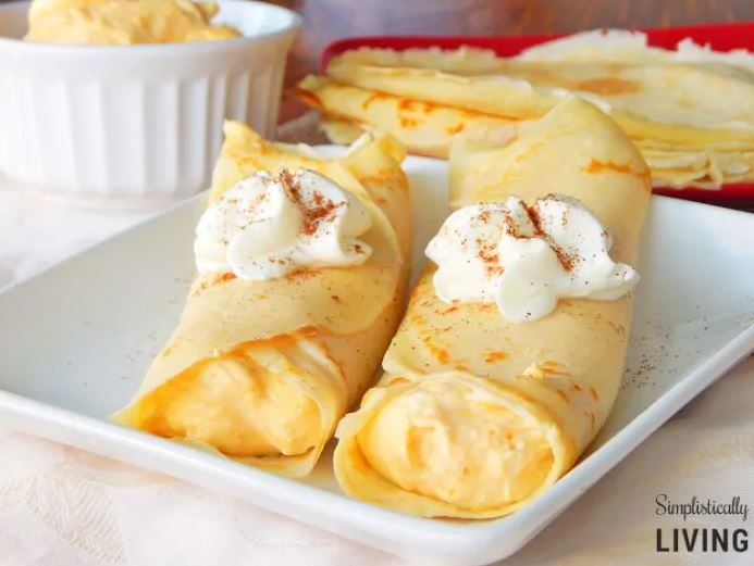 Simplistically Living's Pumpkin Crepes - a breakfast recipe on the pumpkin recipe round up